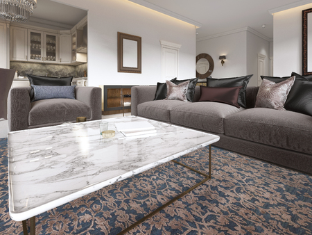 Modern luxury living room interior with a sofa, armchairs, a coffee table and a dining table with a kitchen. 3D rendering. Stock Photo - 113307613