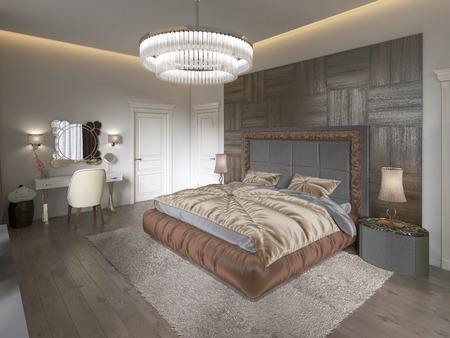 Luxury bedroom interior with fabric bed, dresser and nightstands. 3D rendering