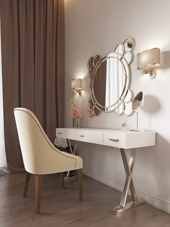 White dressing table with decor, mirror and sconces on the wall. White soft chair. 3d rendering. Stock fotó