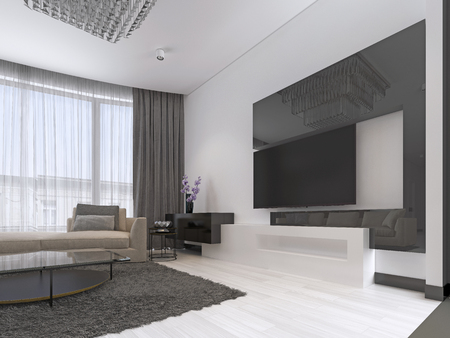 Interior Design: Living room with a large corner sofa and a TV unit in contemporary style. 3d rendering