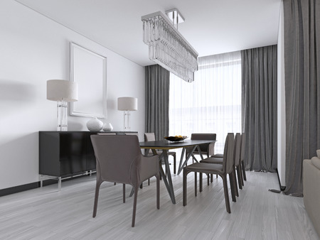 Contemporary dining room with a large rectangular dining table with eight brown leather chairs and a black picture dresser and lamps. 3d rendering. 스톡 콘텐츠