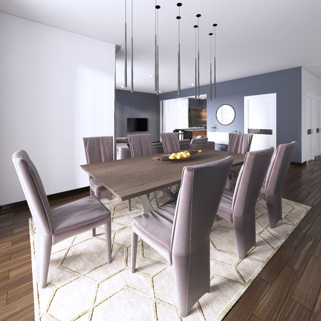Luxurious modern dining room boasts a wood dining table illuminated by a pendant lights and surrounded by brown leather dining chairs over taupe sisal rug finished with modern chest of drawers. 3d rendering Stock Photo - 113376801