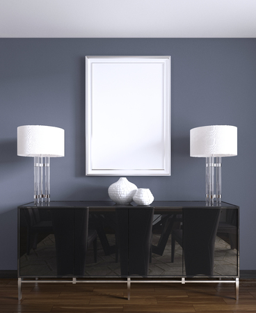 black chest of drawers with table lamps and a picture in a white frame. 3d rendering.