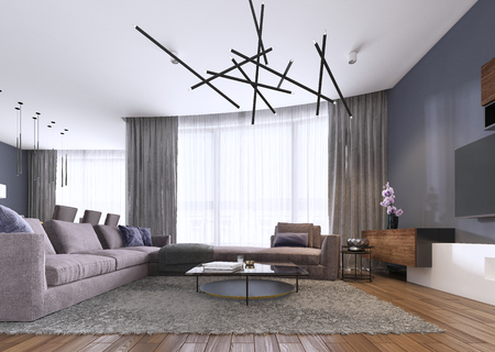 Chic living room filled with built-in cabinets, violet corner sofa, soft sofa facing two low tables and window wall. Contemporary style. 3d rendering.
