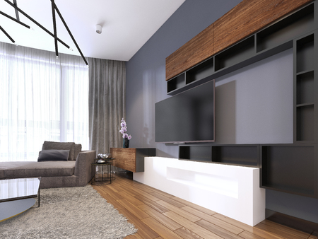 TV storage with shelves in modern living room with corner big sofa and coffee table and carpet. 3d rendering