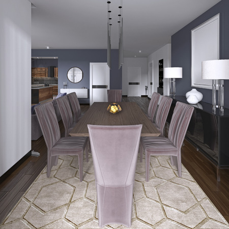 Nicely decorated luxury living, dining room. Dining table and some chairs. Interior design. 3d rendering Standard-Bild