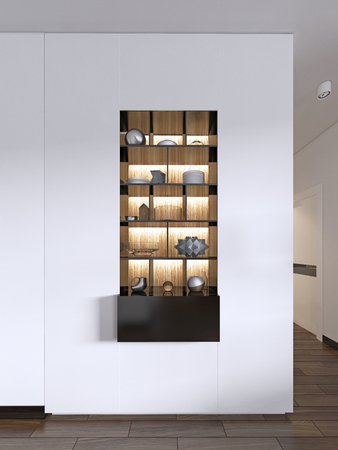 Built-in black shelves with decor against a white wall with lighting. 3d rendering 版權商用圖片 - 113376921