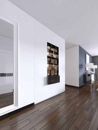 Built-in black shelves with decor against a white wall with lighting. 3d rendering