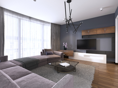 TV unit in contemporary living room with corner fabric big sofa and windows with tulle. 3d rendering