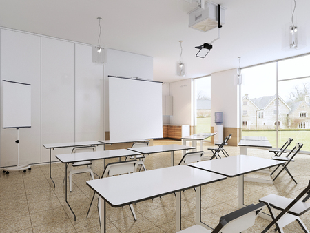 Empty classroom for students with modern equipment and kitchen. 3d rendering. Stock Photo