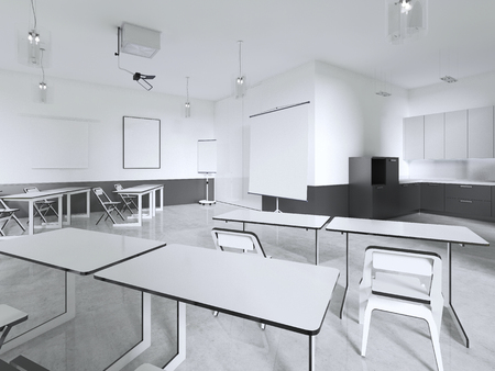 Seminar Room or Classroom. 3d rendering Stock Photo