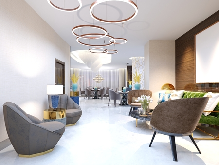 A modern hotel with a reception area and lounge with large upholstered designer chairs and a large chandelier of golden rings. 3d rendering. Foto de archivo