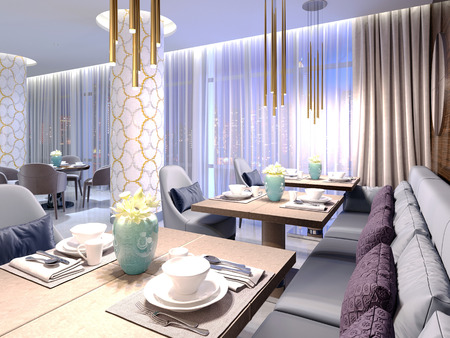 Served tables in the hotel restaurant with luxurious furniture in a modern design. 3d rendering 免版税图像