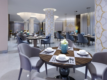 The hotel's luxurious, bright restaurant with four and two chairs and tables is served. Snow-white floor and columns in the mosaic. 3d rendering