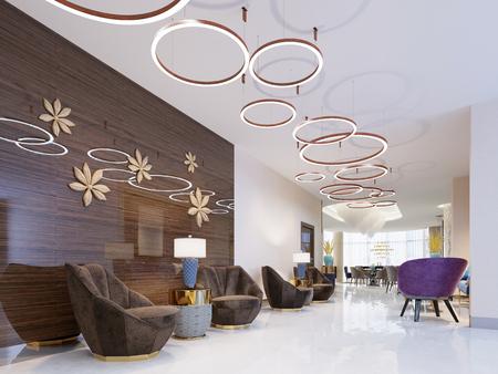 Area lounge di un hotel, club, hall aziendale. Frammento della moderna hall dell'hotel a cinque stelle. Rendering 3D