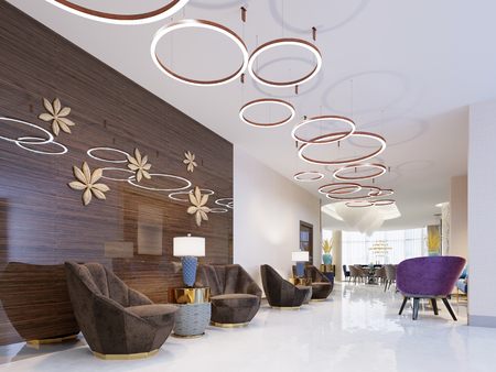 Lounge area of a hotel, club, company lobby. Fragment of the modern lobby of the five stars hotel. 3D rendering