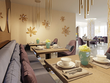 The luxurious restaurant in the hotel has a modern interior design, soft armchairs and served tables. 3d rendering Фото со стока