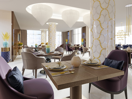 The luxurious restaurant in the hotel has a modern interior design