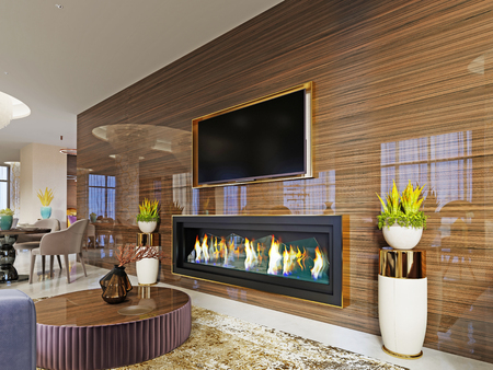 luxury designer lobby hotel with a fireplace and a TV set built into a glossy wooden wall with a pot on the sides. 3d rendering