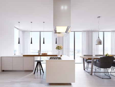 White corner kitchen in contemporary style, with bar top and black chairs. Suspended lamps and square hood, panoramic windows and dining area. 3d rendering