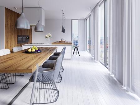 Bella sala da pranzo bianca con un grande tavolo e sedie di design. rendering 3d Archivio Fotografico