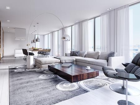 Weißes geräumiges, voll möbliertes Wohnzimmer mit Holztisch und Ecksofa. 3D-Rendering