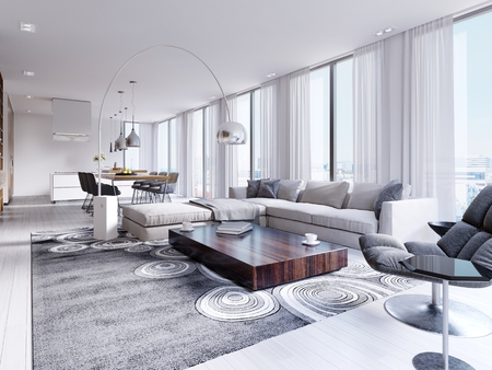 White spacious fully furnished living room with wooden table and corner sofa. 3d rendering