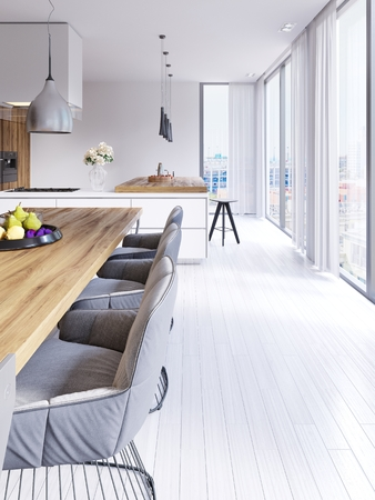 Scandinavian styled dining room and open plan kitchen with city outlook. 3d rendering Stock Photo