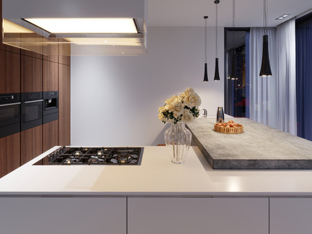 Contemporary kitchen with hob and built-in appliances, white and hardwood facade. concrete table top bar. 3d rendering.