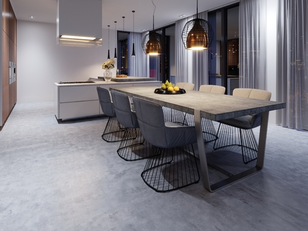 Large dining room with kitchen, large dining table in a fashionable contemporary style. Creative design solution for the interior of the dining-kitchen. 3d rendering.