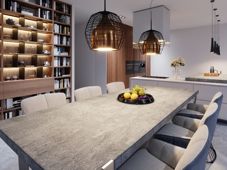 A large dining table with a concrete worktop, large designer hanging lamps and six stylish chairs. 3d rendering.