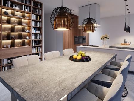 Un grande tavolo da pranzo con piano di lavoro in cemento, grandi lampade a sospensione di design e sei sedie eleganti. rendering 3D.