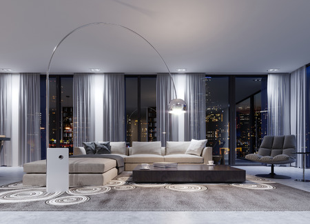 A huge white corner sofa with a modular system in the evening interior near large panoramic windows. 3d rendering. Banque d'images