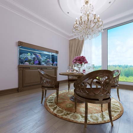 Luxury classic interior of dining room, kitchen and living room with brown furniture and crystal chandeliers. 3d rendering Banco de Imagens - 113380195