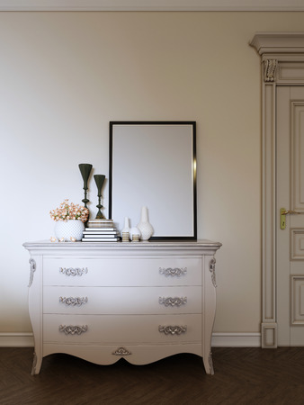 classic dresser with decor and a picture in a modern apartment. 3d rendering. Stock fotó