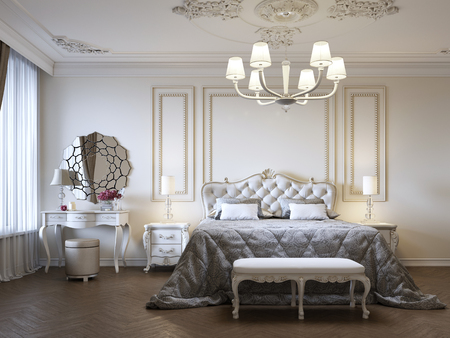 Dormitorio de lujo con mesitas de noche y tocador. Concepto interior, hogar, confort, hotel. Representación 3d