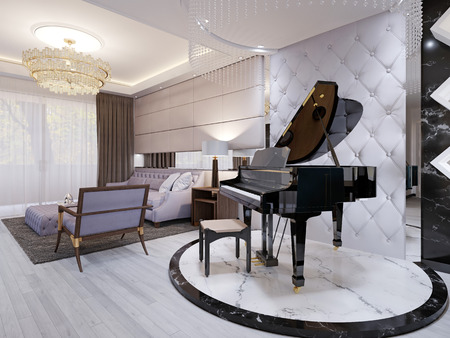 Beautiful piano in the luxury lounge. Purple sofa with chair and table, pendant lamps, rhinestones. 3d rendering.