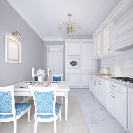 White kitchen with dining table in a classic style. The bright interior of the kitchen. 3d rendering.