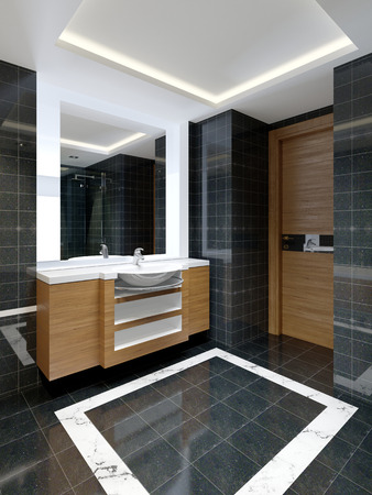 New modern bathroom with fancy bath and vanity near the wall. 3d rendering.