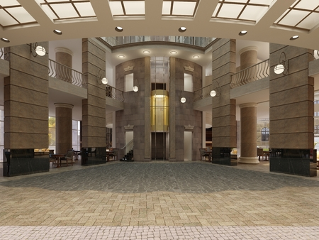 Modern hotel lobby with multi-level interior space and balconies. The interior of the hotel lobby in a classic style. 3d rendering.