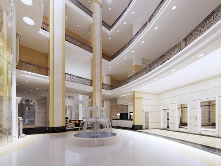 moderne lobby, hal van het luxehotel, winkelcentrum, zakencentrum. Interieur ontwerp. 3D-rendering. Stockfoto