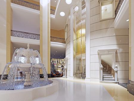 Luxury lobby interior. 3d rendering