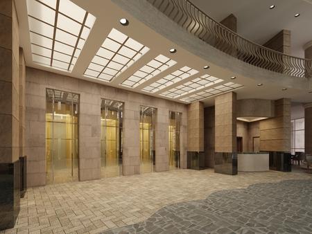 Aufzugshalle aus braunem Marmor und Metall in einem Hotel mit großen Säulen. Eingebautes Licht in der Decke. 3D-Rendering
