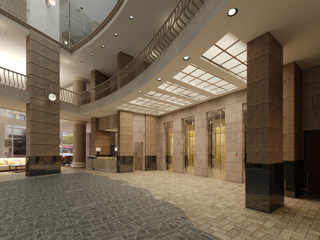 Brown marble and metal elevator hall in an hotel with a large columns. Built-in light in the ceiling. 3d rendering