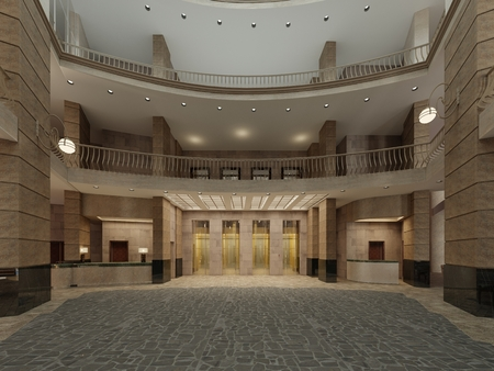 The interior design of the hotel lobby with a large multi-storey interior space. Stone columns, balconies and interfloor elevators. 3d rendering.
