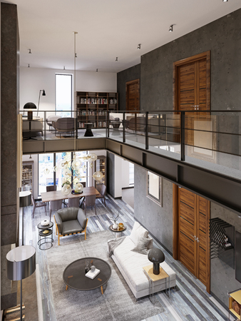 Two-level loft-style interior with a living room and dining area and transitions co glass railing to the library area on the second floor. 3d rendering. 免版税图像