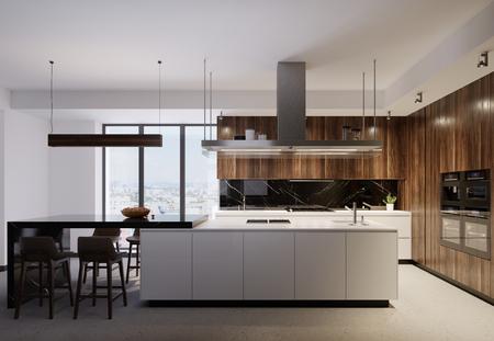 Luxuriöse Küchenmöbel mit weißem Boden und Holzplatte, die weiße und braune Holzelemente kombinieren. Moderne moderne Küche. 3D-Rendering.
