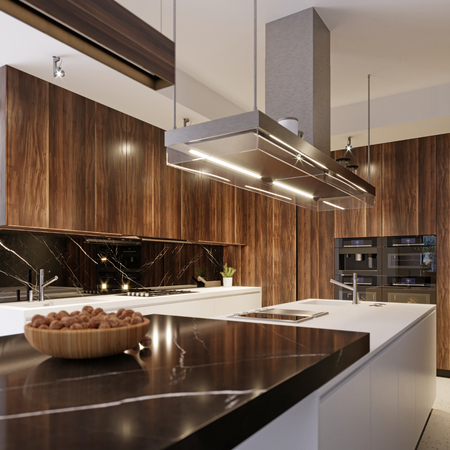 Aparatos de cocina modernos en cocina interior contemporánea, renderizado 3D. Foto de archivo