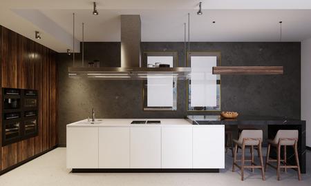 Luxuriöse Küchenmöbel mit weißem Boden und Holzplatte, die weiße und braune Holzelemente kombinieren. Moderne moderne Küche. 3D-Rendering. Standard-Bild