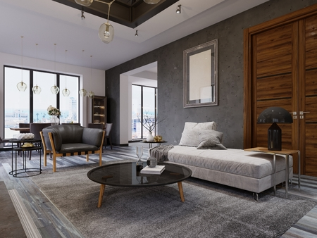 loft apartment with living room and dining room. 3d rendering.